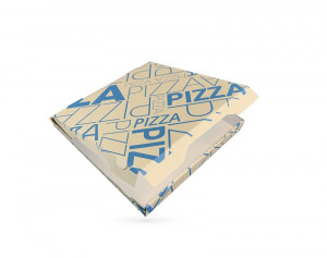 BOITE A PIZZA KRAFT BRUN IMPRESSION BLEUE 290X35 MM MODELE CALIFORNIA (100 U)