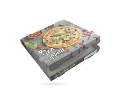 BOITE A PIZZA KRAFT BLANC IMPRESSION «BON APPETIT» 330X40 MM (100 U)