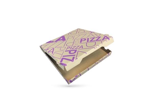 BOITE A PIZZA KRAFT BRUN IMPRESSION VIOLETTE 330X35 MM MODELE CALIFORNIA (100 U)