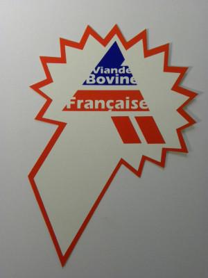 ETIQUETTE BLANCHE/ROUGE «VIANDE BOVINE FRANCAISE» (18117) (10 U)