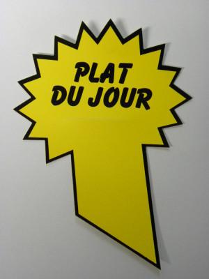 ETIQUETTE JAUNE «PLAT DU JOUR» 11.5X9 CM (18212) (10 U)