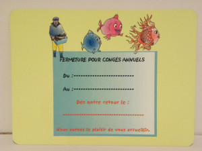 ETIQUETTE «FERMETURE POUR CONGÉS ANNUELS» POISSONNERIE 150X200 MM (1 U)