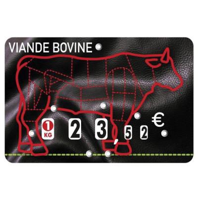 ETIQUETTE NOIRE/ROUGE VIANDE BOVINE A PIQUE 8X12 CM (1610) (10 U)