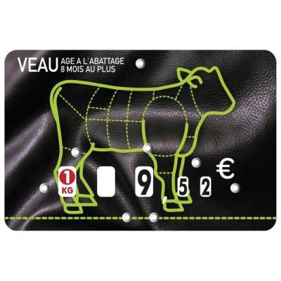 ETIQUETTE NOIRE/VERTE A PIQUE «VEAU» 8X12 CM (10 U)