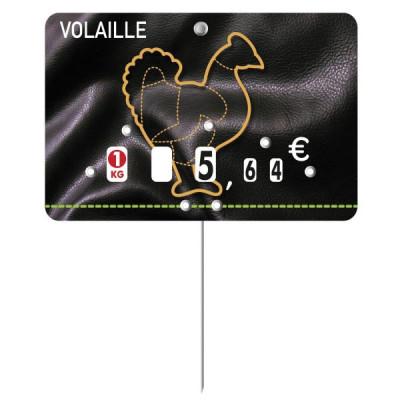 ETIQUETTE NOIRE/ORANGE CLAIR VOLAILLE A PIQUE 8X12 CM (1629) (10 U)