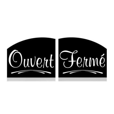 ETIQUETTE NOIRE OUVERT/FERME 15X12 CM R/V (2406) (1 U)