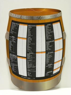 TONNEAU TARIF DES CONSOMMATIONS 55X75 CM (3709) (1 U)