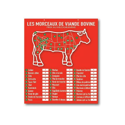 TABLEAU ROUGE «LES MORCEAUX DE VIANDE BOVINE» 60X52 CM (3774) (1 U)