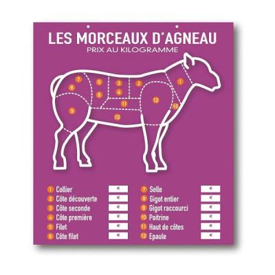 TABLEAU VIOLET «LES MORCEAUX D'AGNEAU» 49X45 CM (3776) (1 U)