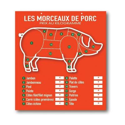TABLEAU ORANGE «LES MORCEAUX DE PORC» 49X45 CM (3777) (1 U)
