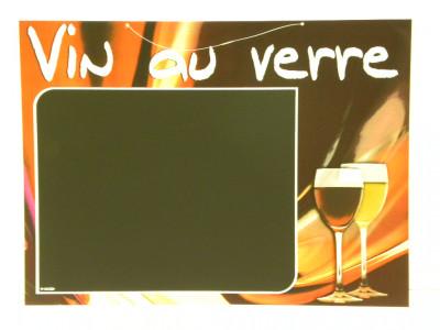 PANNEAU BOISSON 40X30 CM «VIN AU VERRE» (5284) (1 U)