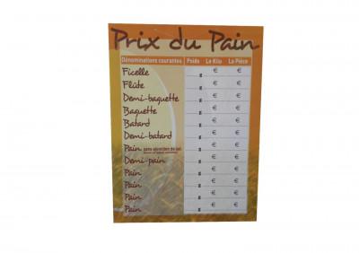 PANNEAU «PRIX DU PAIN» 30X40 CM (6966) (1 U)