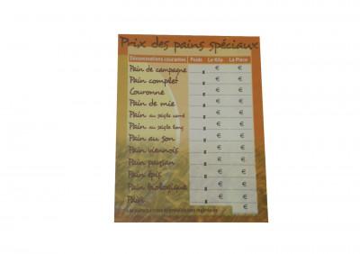 PANNEAU «PRIX DES PAINS SPECIAUX» 30X40 CM (6967) (1 U)