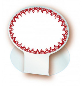 CHEVALET DE TABLE OVALE BLANC DENTELLE BORDEAUX 7X5 CM (9010) (10 U)