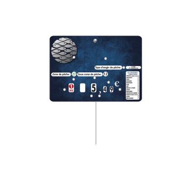 ETIQUETTE BLEUE POISSON «MARINA» 14X10 CM A ROULETTE/PIQUE INOX (10 U)
