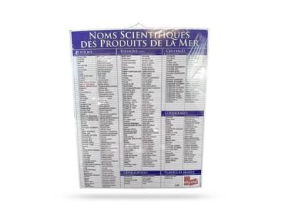 PANNEAU NOMS SCIENTIFIQUES DES PRODUITS DE LA MER 60X74 CM (1 U)