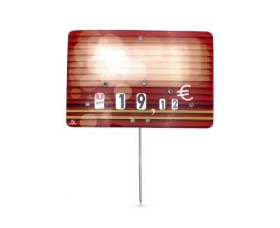 ETIQUETTE ROUGE BOUCHERIE «CANDIE» 8X12 CM A ROULETTE PIQUE INOX (10 U)