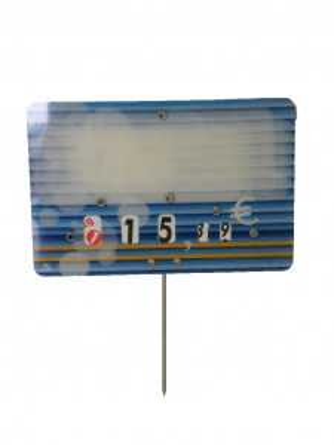 ETIQUETTE BLEUE POISSON «CANDIE» 8X12 CM A ROULETTES PIQUE INOX (10 U)