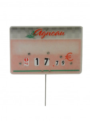 ETIQUETTE ROSE AGNEAU «TENDANCE» 8X12 CM A ROULETTE PIQUE INOX (10 U)