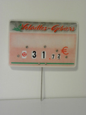 ETIQUETTE ROSE VOLAILLE/GIBIER «TENDANCE» 8X12 CM ROULETTE PIQUE INOX (10 U)