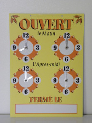 PANNEAU HORAIRES JAUNE/ORANGE «OUVERT» 4 CADRANS «EPIS» FIL NYLON 22X15 CM (1 U)