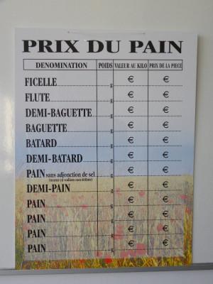 PANNEAU PRIX DU PAIN  40X30 CM CHAMP DE BLE (1 U)