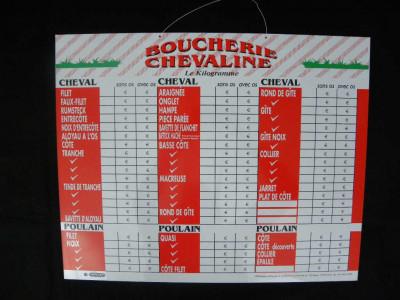 PANNEAU ROUGE/BLANC BOUCHERIE CHEVALINE 70X60 (1 U)