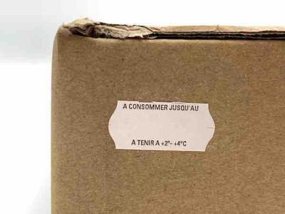 ÉTIQUETTE ADHES.BL. 26X12 MM RLX 1500 «A CONSO JUSQU'AU»