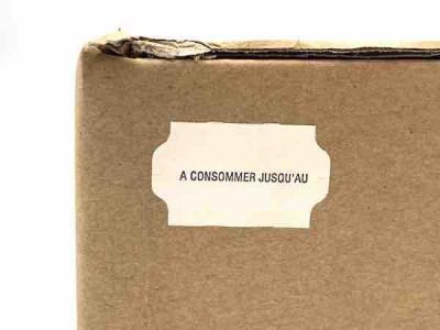 ÉTIQUETTE ADHÉ. BLANCHE 32X19 MM IMP NOIRE «A CONSO. JUSQU'AU» RLX 1000 (5000U)