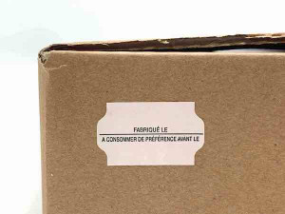 ÉTIQUETTE ADHÉ.BLANCHE 32X19MM IMP NOIRE «FABRIQUÉ LE/A CONSO. AVANT» (5000 U)