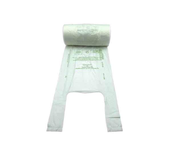 SAC BRETELLES BIODEGRADABLE COMPOSTABLE BLANC ROULEAU 23+6+6X50CM 15MI (3000U)